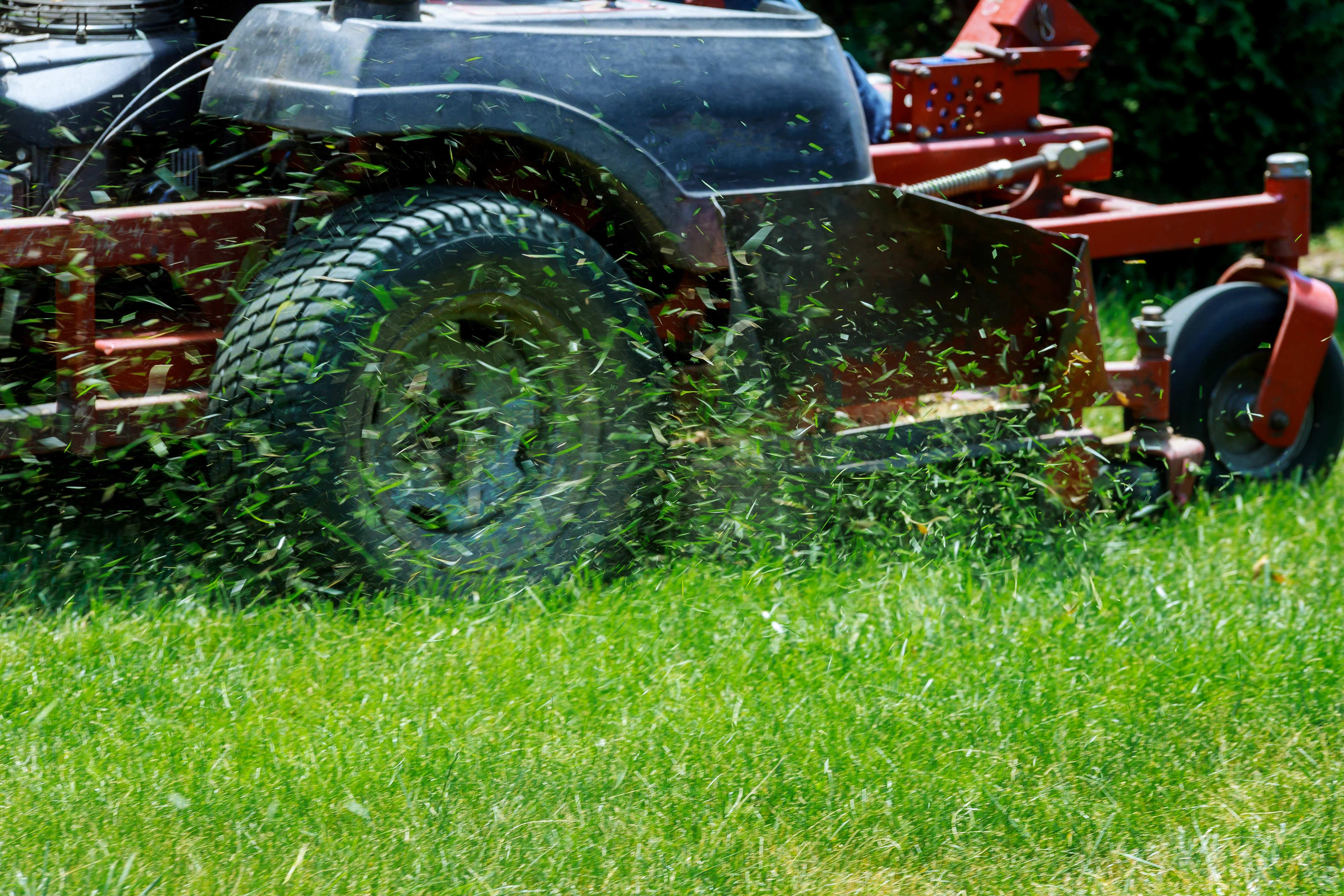 lawn Mower cutting lawn